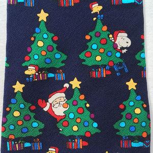 Snoopy Peanuts Navy Blue Silk Christmas Trees Tie